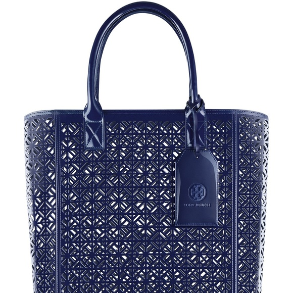 5ab13480d64 Tory Burch Perforated Patent leather Tote Bag